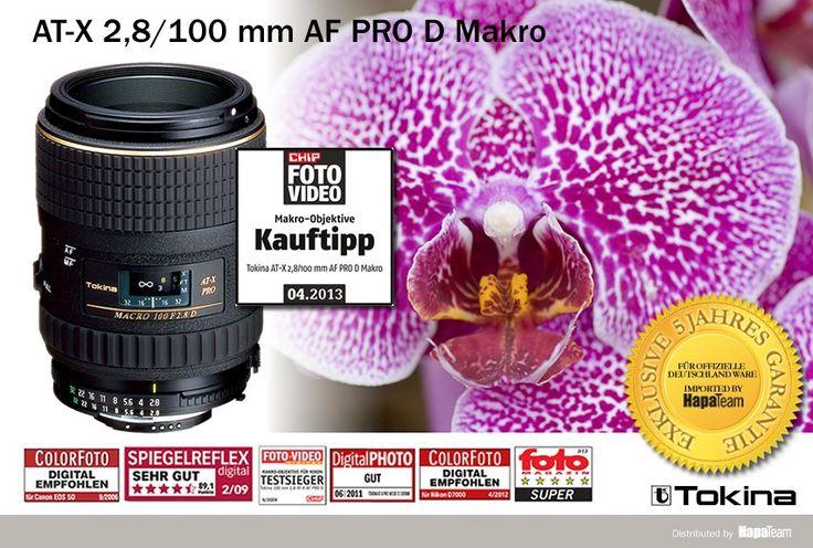 Tokina Makroobjektiv 2,8   100 mm für Kleinbild- und alle Digitalformate. Exzellente Schärfe von unendlich bis zur Abbildung in natürlicher Größe und ideal auch als Porträt.