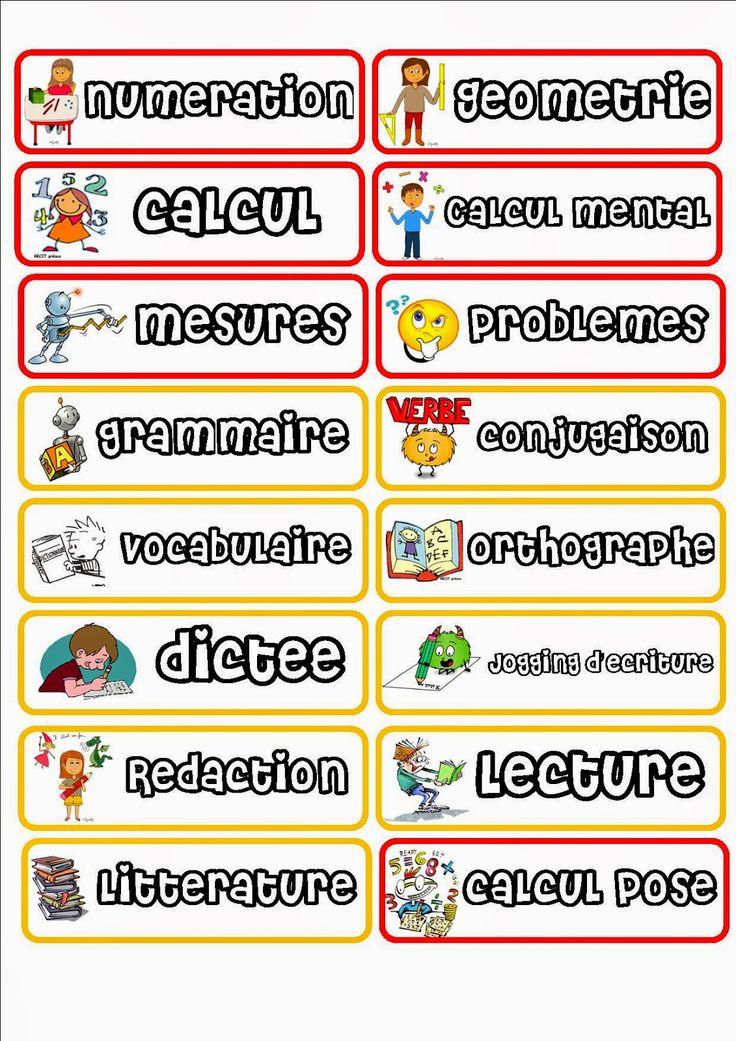 La fourmilière de Minifourmi: Les étiquettes pour l'emploi du temps