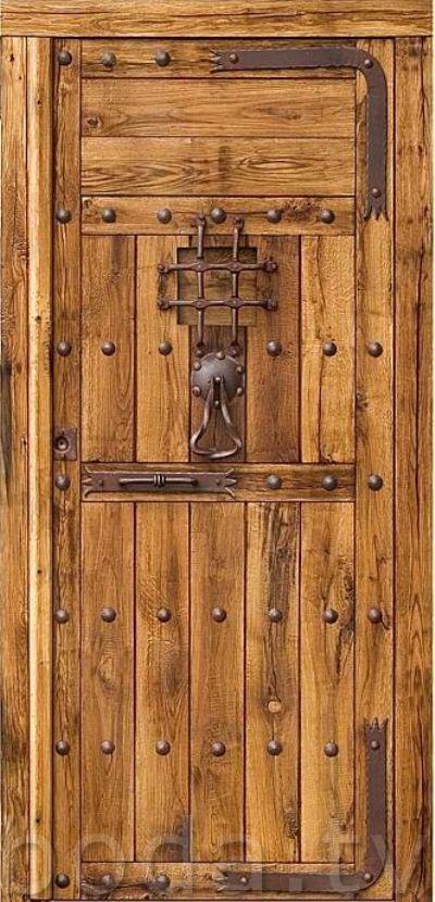 puertas rusticas de madera de roble macizo con forja autentica de fragua. wood door