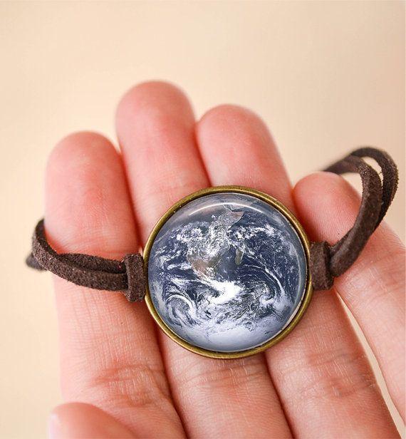 Planet Earth Bracelet, Planet Jewelry, Space Jewelry