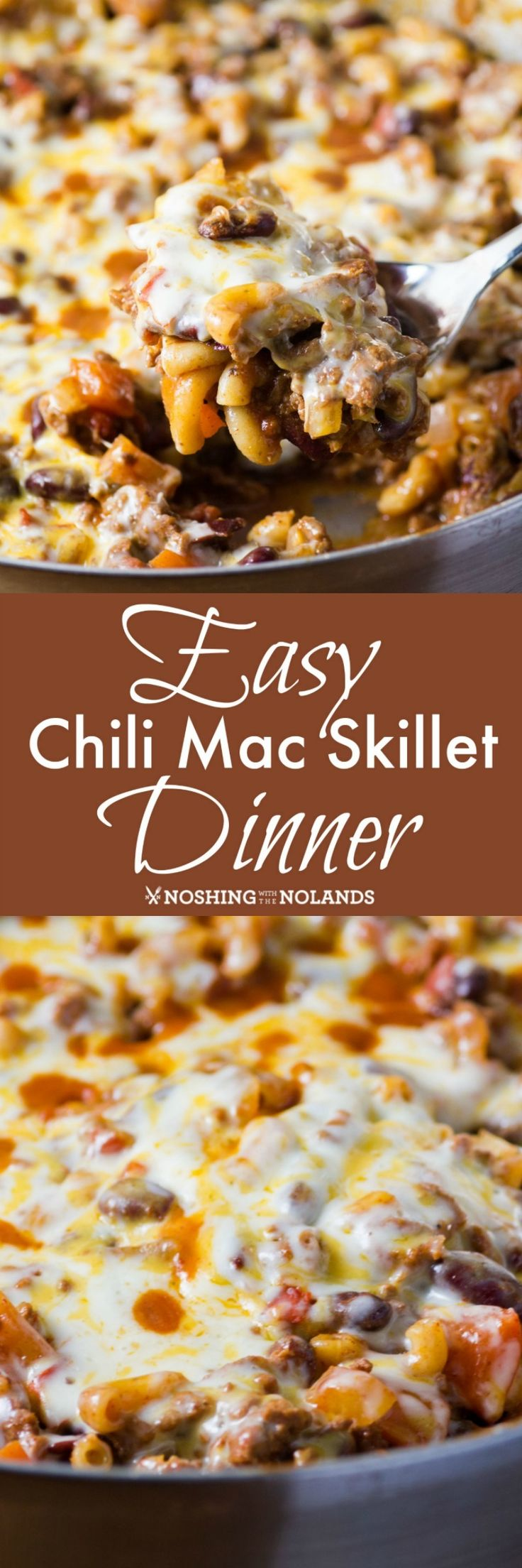 Easy Chili Mac Skillet Dinner by Noshing With The Nolands is easy comfort food at it's best! So delicious it will be a new family favorite!