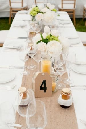 i like the table setting but i dont really care for the burlap table runner or the tall long candles