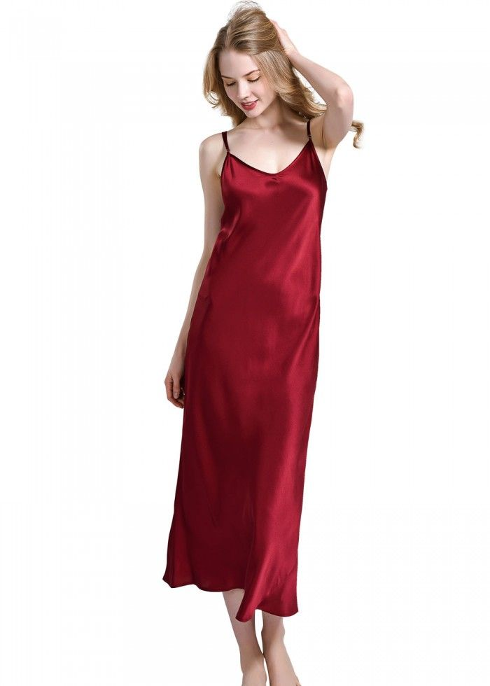 f886c6b226 Sexy V-Neck Slip Long Silk Nightdress For Women