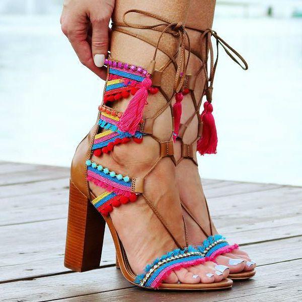 Schutz Tassel Lace up Chunky Heels