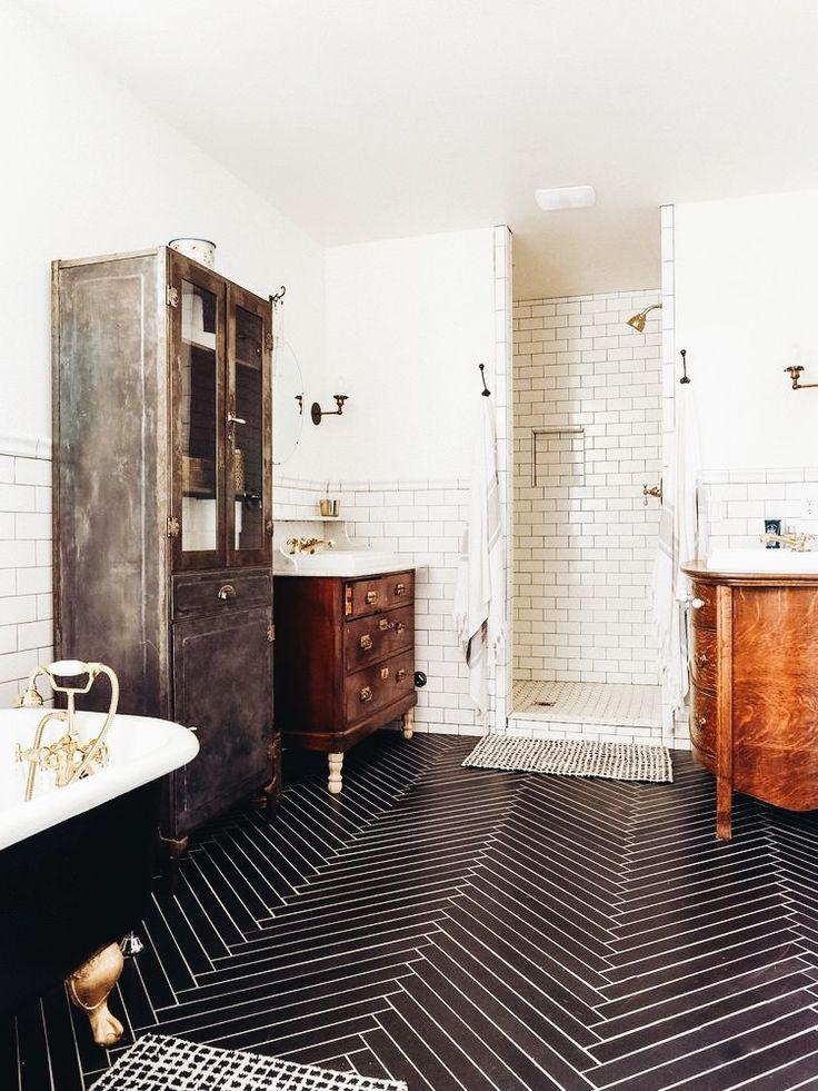 Cool Floors Black Tile Balck Tub Rustic Mixed Woods White Tile Shower Rustic Bathroom Bath Eclectic Home Home Bathroom Design
