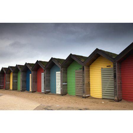 Colourful Beach Huts Blythe Northumberland England Canvas Art - John Short Design Pics (19 x 12)