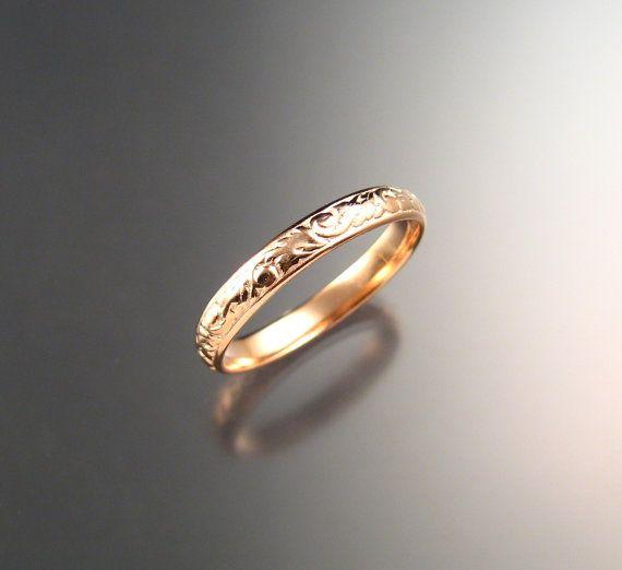 Patrón Floral de 3.25 oro rosa mm banda 14k por stonefeverjewelry