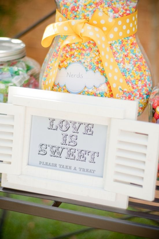 Love Is Sweet Sign For A Wedding Candy Table
