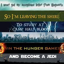 Harry Potter, The Hobbit, Percy Jackson, Divergent, The Hunger Games, and Star Wars.