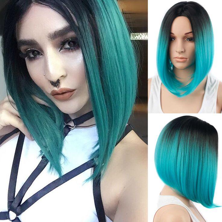 Ombre Wig Sintetis Rambut Wig Pendek untuk Wanita Hitam Biru Bob Rambut pendek Bob Wig Ombre Biru Tahan Panas Murah Wig