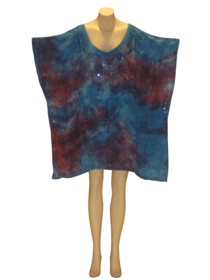 Marble Tie-Dye Sequined Kaftan Caftan Tunic Top : Turquoise from Kaftan Connection