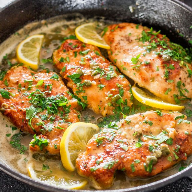 2 skinless and boneless chicken breasts, cut in half lengthwise salt and pepper to taste all purpose flour, for dredging 4 tbsp butter, unsalted 2 tbsp olive oil ⅓ cup fresh lemon juice ½ cup chicken stock or dry white wine, I used wine ¼ cup brined capers ⅓ cup fresh parsley, chopped