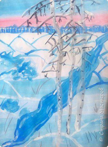 Зимний пейзаж по МК Ольги Уралочки http://stranamasterov.ru/node/1062681?c=favorite Работы детей 4 класса. фото 9