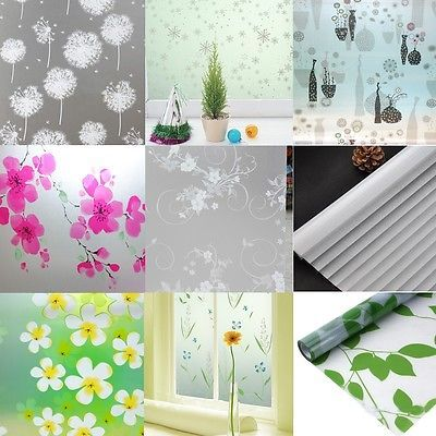 Floral Window Glass Film Pvc Self Adhesive Privacy