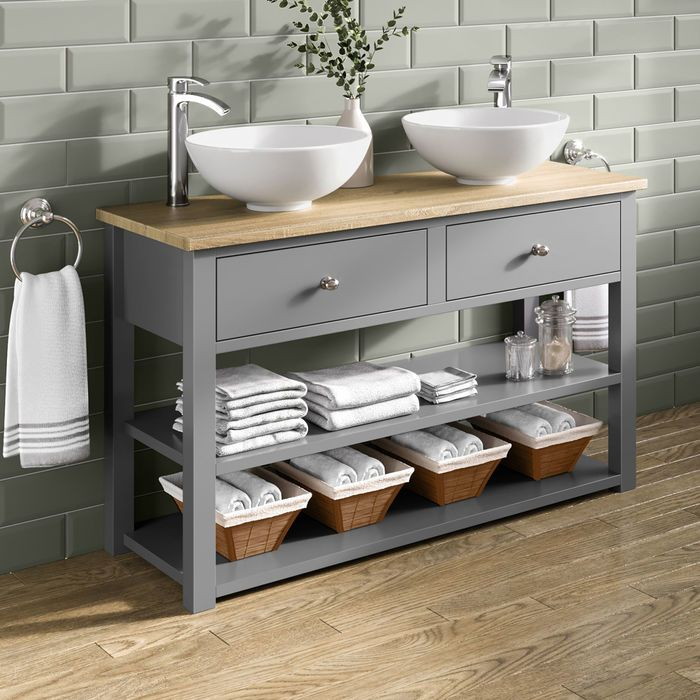 Sutton Countertop Vanity Unit And Double Puro Basin Bathroom Units Bathroom Furniture Modern Vanity Units