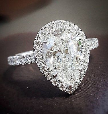 100% Natural 2.50 Ct. Pear Cut Diamond Engagement Ring Set G, VS2 GIA U-Pave