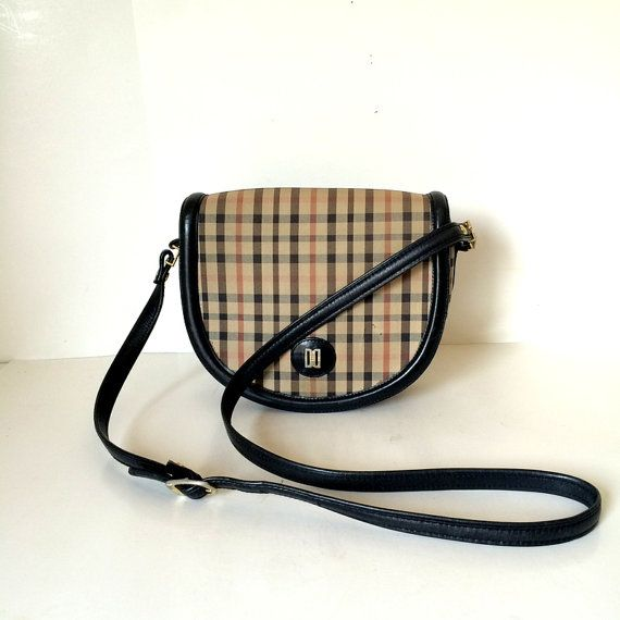 Vintage Authentic Daks Plaid Canvas and Leather by oldtanery
