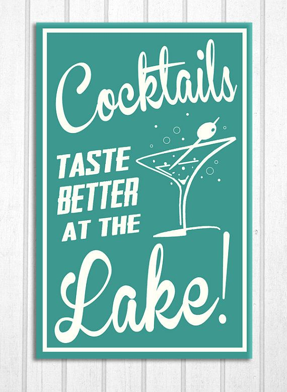 Retro Cocktails at the Lake Cottage Cabin by ZietlowsCustomSigns, $19.00