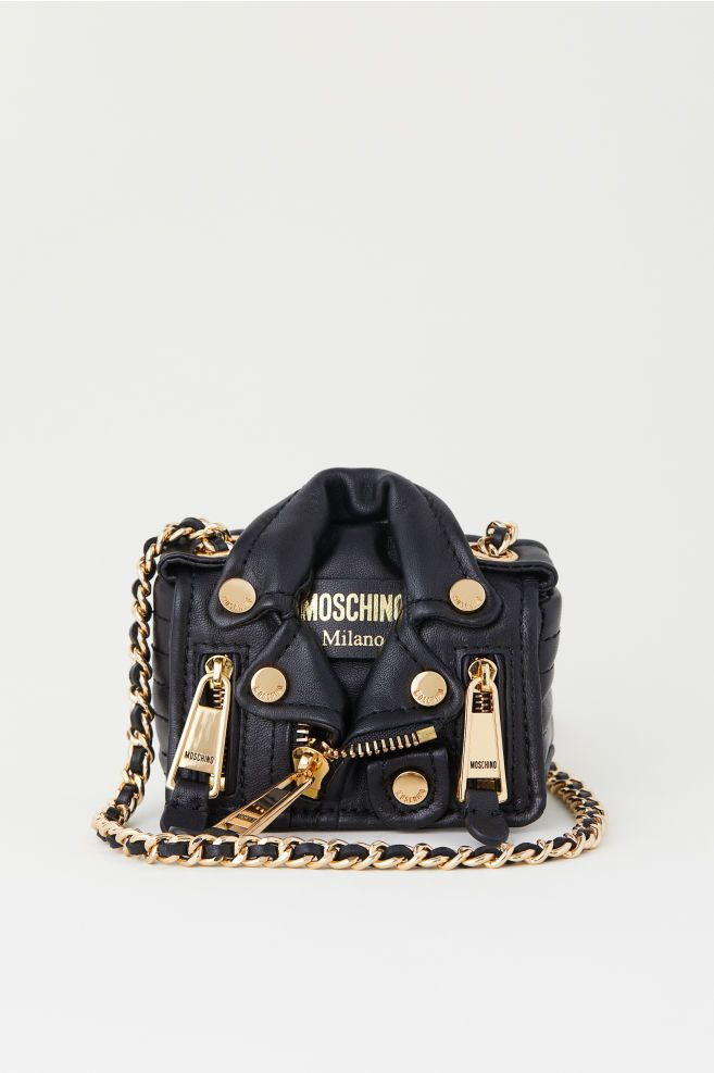 76153d309a BNWT H M x Moschino Small Leather Shoulder Bag Black Jeremy Scott HMOSCHINO