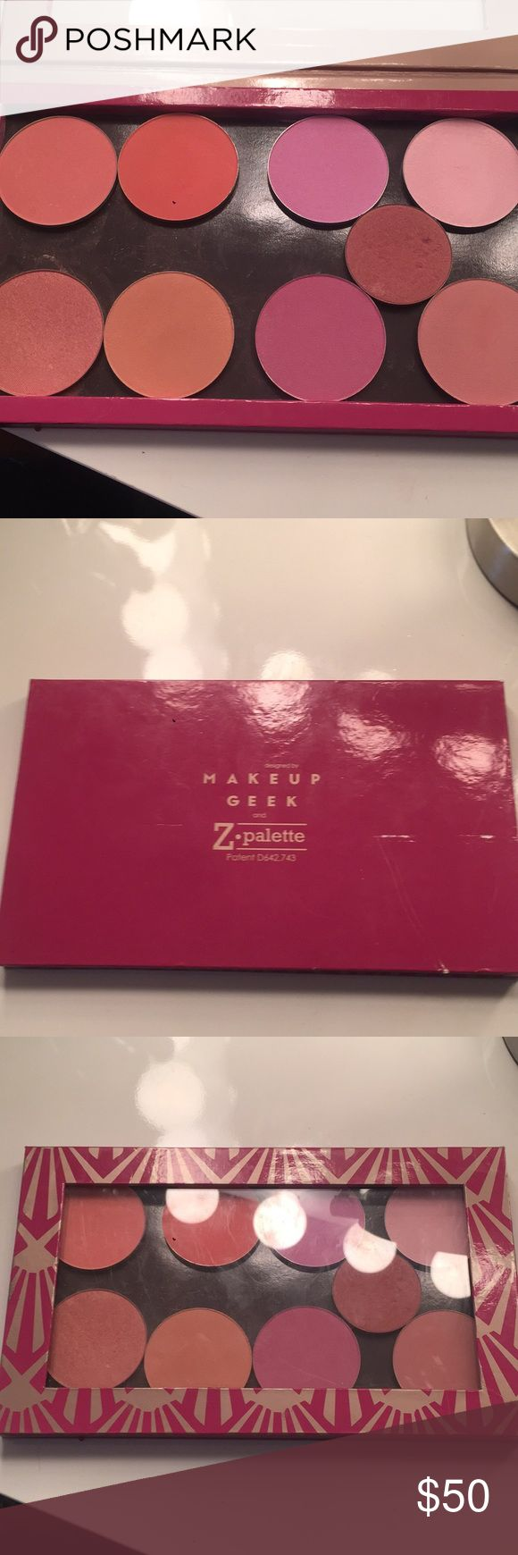 Make up geek blush pallet Get every blush in there plus a Lorca blush that is glued to the Z pallet. It includes 8 make up feel blushes and the Z pallet to store it in makeup geek Makeup Blush