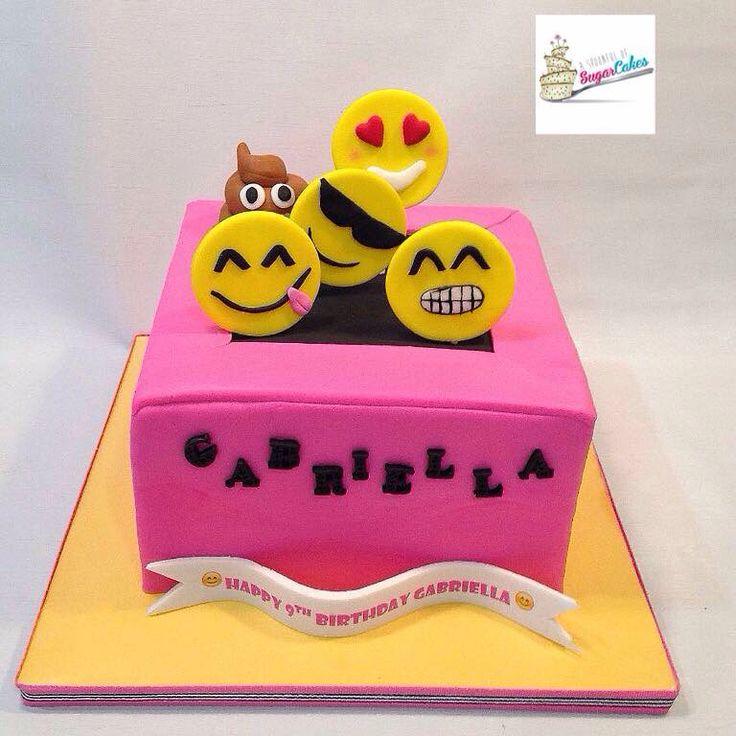 Emojis jumping on a trampoline cake