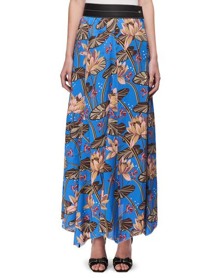 LOEWE Floral-Print Maxi Skirt W/Leather Waist, Blue Pattern. #loewe #cloth #