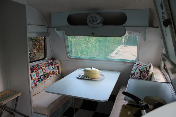 The interior painting is completed & so is the table which folds down to form the base for the double bed. I love the the 'frayed' look of the seat covers.....Finally I can start with the styling