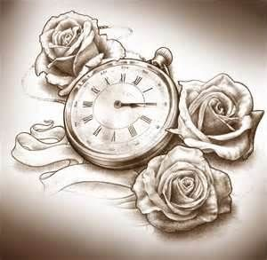 Clock And Roses Tattoo Design By T O N E D4isfrojpg