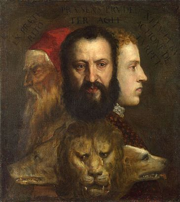 Tiziano, Alegoría del Tiempo gobernado por la Prudencia, 1565-70.