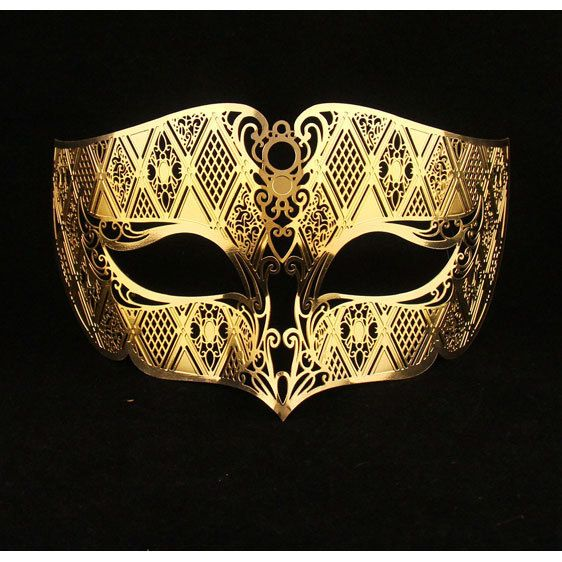 Gold Male Masquerade Mask Laser Cut Metal Masks for Men