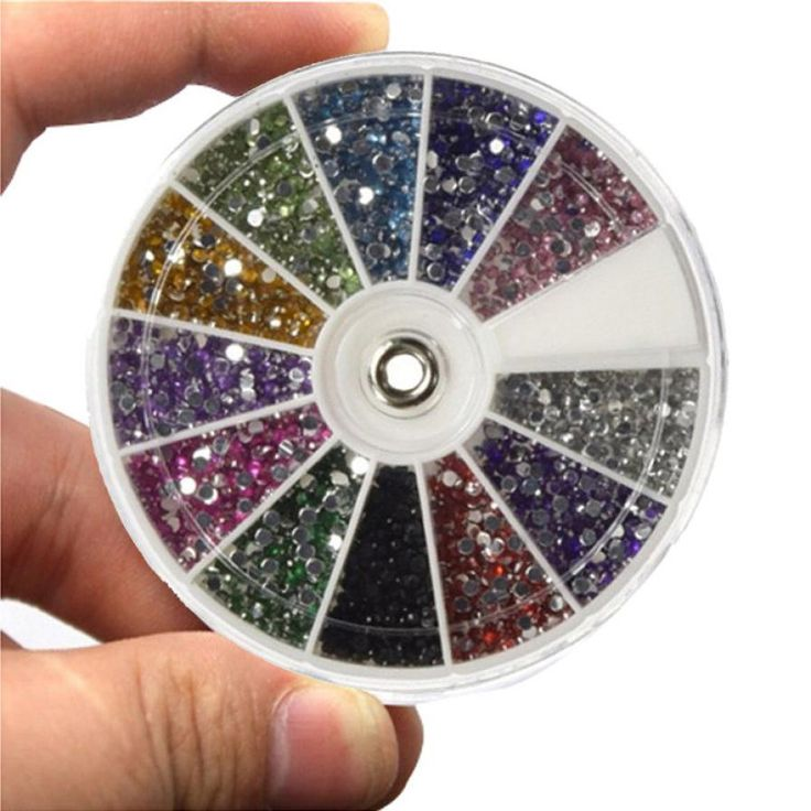 Newly Design 12 Color 1.5mm Mixed Nail Glitters Nail Art Rhinestone 2400pcs…
