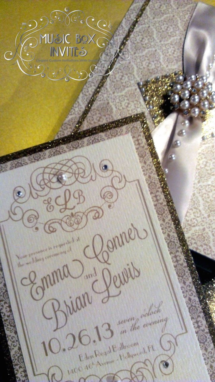 Musical Wedding Or Party Invitation And RSVP Card In The Great Gatsby 1920s Gold Pearl Black