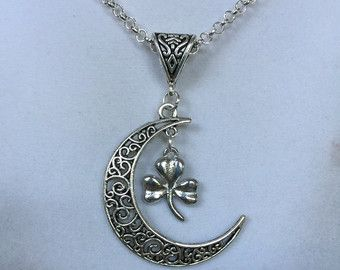 Celtic Silver Shamrock and Crescent Moon Necklace - Edit Listing - Etsy