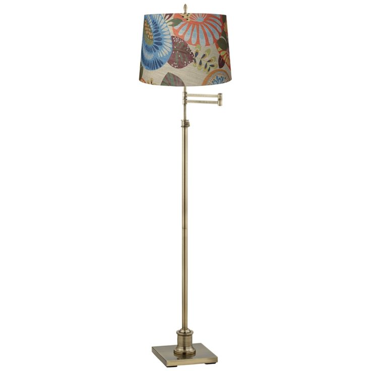 Inspirational Westbury Tropic Drum Shade Brass Swing Arm Floor Lamp Style Y V