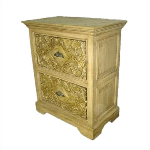 Wooden Carved White Bed Side Chest Of Drawers - FOLKBRIDGE.COM   Buy Gifts. Indian Handicrafts. Home Decorations.