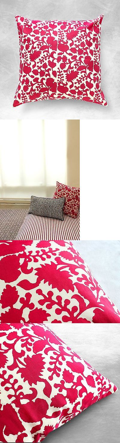 Pillows 83902: Red Floral Pillow, Javanese Batik Pillow, Boho Pillows, Tropical, Eclectic, 18 -> BUY IT NOW ONLY: $50 on eBay!