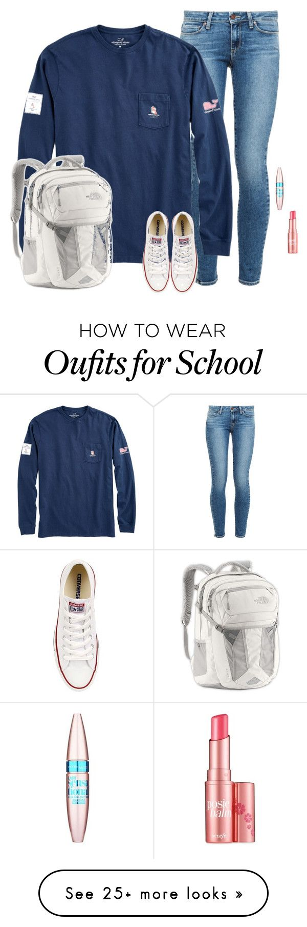 nike shoes Ready for school by laurenemcclain on Polyvore featuring Paige Denim, The North Face, Converse, Maybelline and Benefit