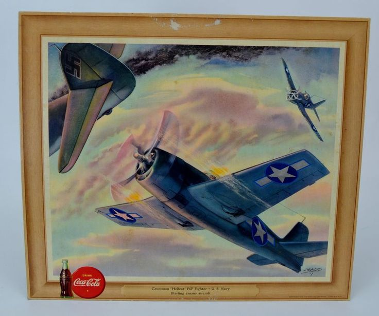 Vintage Heaslip Coca Cola WWll Grumman Hellcat F6F Fighter U.S Navy #CocaCola