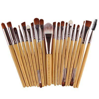 Stylish 20 Pcs Wood Grain Handle Nylon Face Eye Lip Makeup Brushes Set #men, #hats, #watches, #belts, #fashion, #style