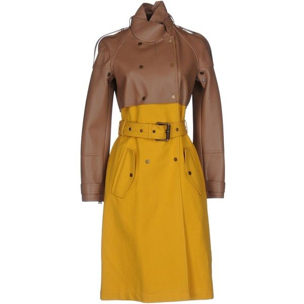 Belstaff Coat ($2,060) ❤ liked on Polyvore featuring outerwear, coats, khaki, animal coat, leather trench coat, yellow trench coat, khaki trench coat and double-breasted trench coat