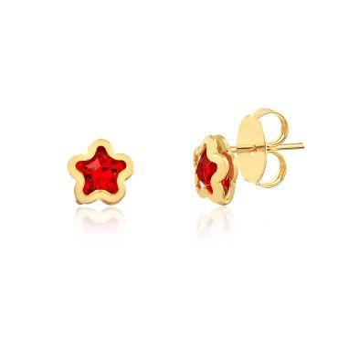 Brinco estrela ponto de luz vermelha folheado em ouro 18k - Francisca Joias