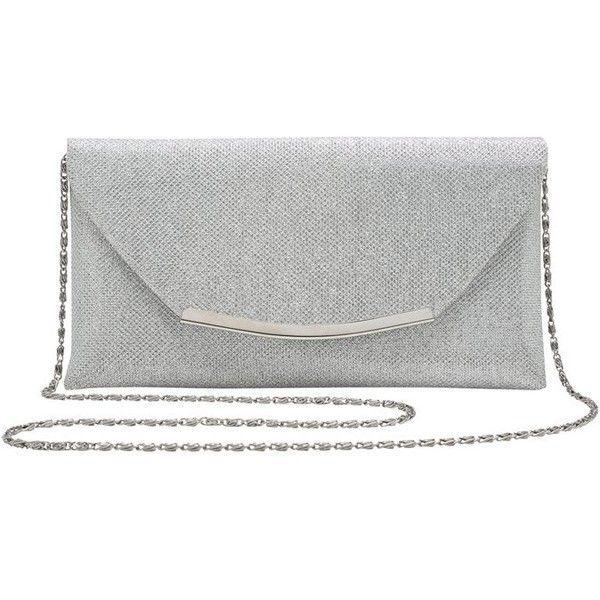 M&Co Ladies Sparkle Metallic Thread Cross Body Chain Strap Metal... (£22) ❤ liked on Polyvore featuring bags, handbags, clutches, silver, crossbody purse, black envelope clutch, party purses, black clutches and crossbody handbags