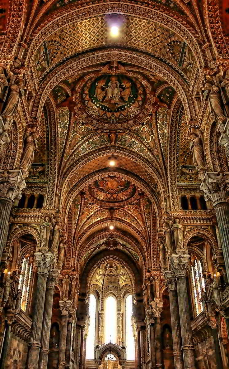 NOTRE DAME DE FOURVIEVRE CATHEDRAL (Our Lady of Fourvievre) in Lyon, France Beautiful.