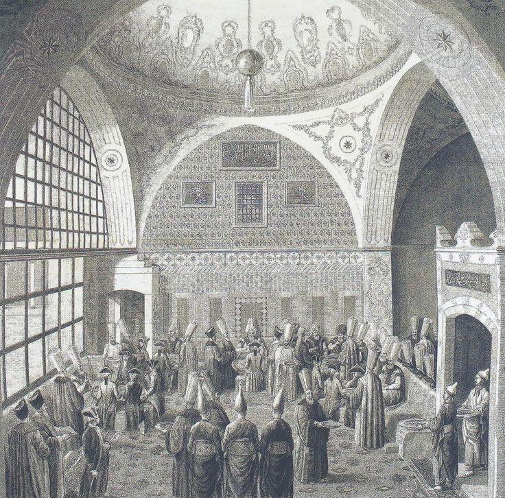 Mouradgea D'Ohsson'un ilk cildi 1787'de Paris'te yayınlanan Tableau General de L'Empire Othoman adlı üç ciltlik kitabında yer alan bu gravürde, sadrazamın Divan-ı Hümayun'da Avrupalı elçilere verdiği yemek tasvir edilmekte.
