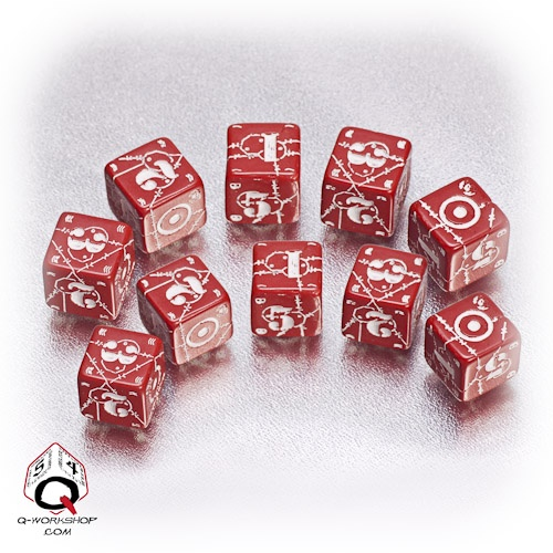 Red-white UK battle dice set