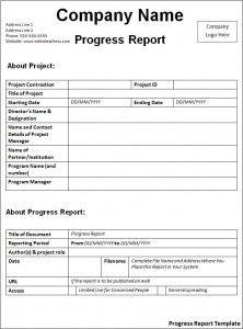 Progress Report Template