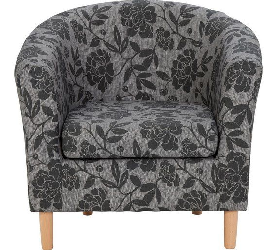 Buy HOME Floral Fabric Tub Chair - Charcoal at Argos.co.uk, visit Argos.co.uk to shop online for Armchairs and chairs, Living room furniture, Home and garden
