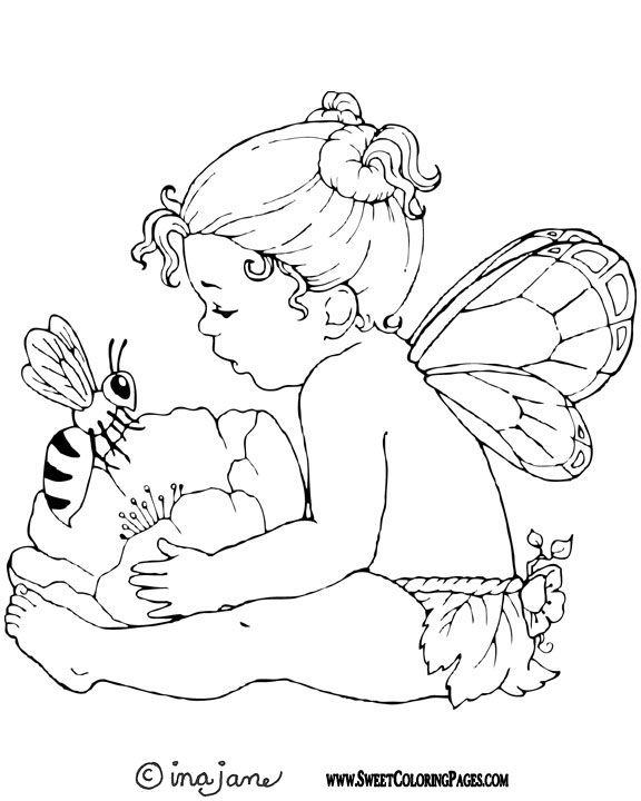 fairy coloring page to print out and to color picture bee and fairy