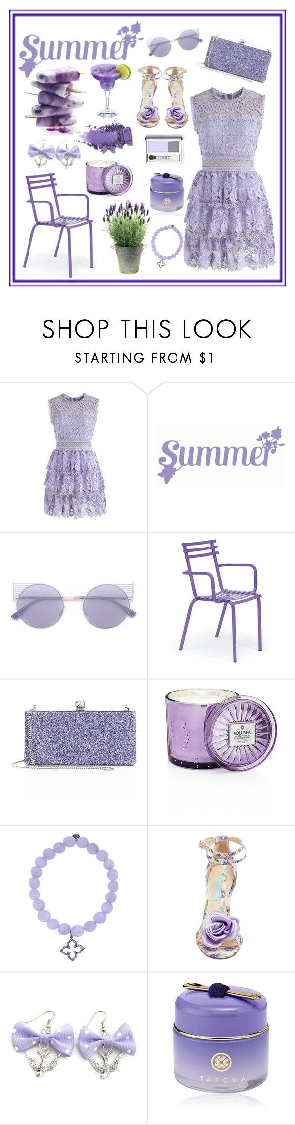 """""""Lilac Summer"""" by miss-shan-nicole ❤ liked on Polyvore featuring Chicwish, Mykita, Ethimo, Jimmy Choo, Voluspa, Sydney Evan, Betsey Johnson, Tatcha and Clinique"""