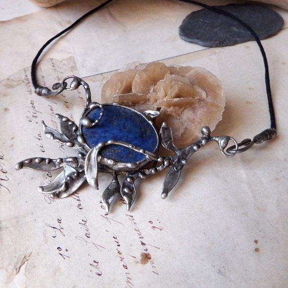 Lapis Lazuli Necklace  Artisan Handmade jewelry by savagealice One of a kind beautiful necklace, lapis lazuli and leaves, nature inspired, bohemian, fairy